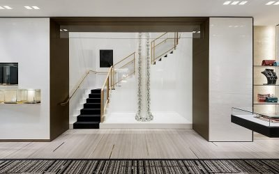 Chanel flagship staircase with pearl necklace