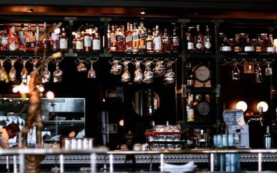 La Societe Bloor-Yorkville features a mosaic tile bar