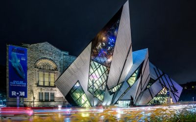 the ROM Bloor street entrance at night