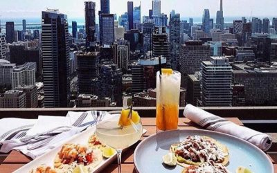 The one eighty patio offers panoramic views of Toronto