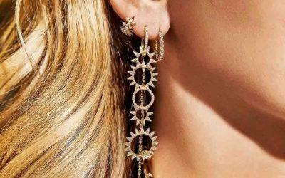 APM monaco asymmetric yellow silver long earrings