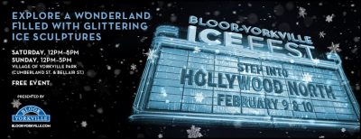 Bloor-Yorkville Icefest promotional banner with snowflakes