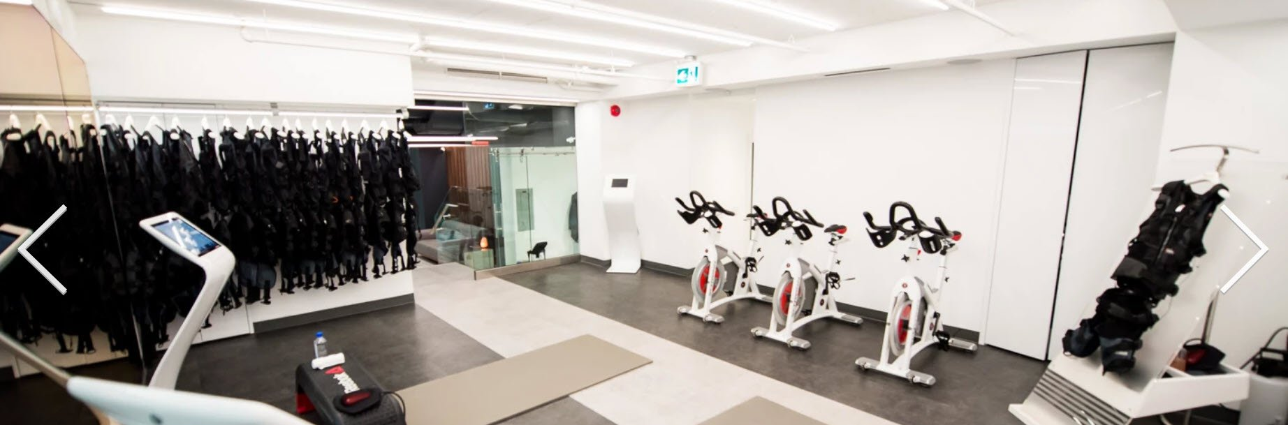 Exercise machines in workout area