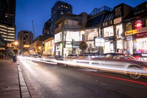 Traffic through the Bloor-Yorkville area at night