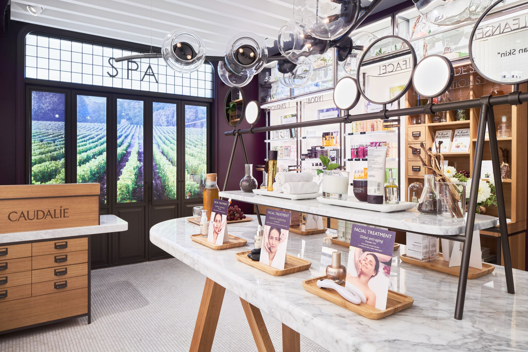 Interior of caudalie boutique yorkville shop local skincare