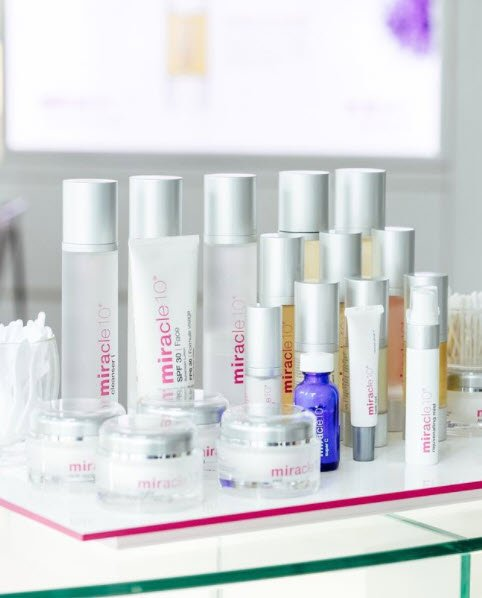 Miracle 10 skincare products on a table